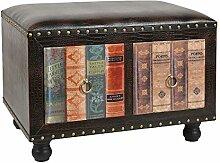 Hocker Stuhl Vintage Buch Look Polsterhocker Antik Kommode Sessel 2 er Sitzbank