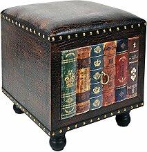 Hocker Stuhl Vintage Buch Look Polsterhocker Antik Kommode Sessel Sitzbank