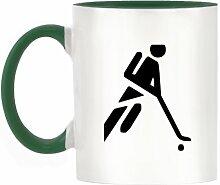 Hockey Leichtathletik Symbol Design zweifarbiges Becher mit Dunkle Grün Griff & Innen