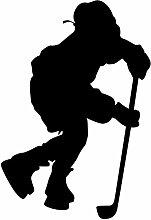 """Hockey Wand Aufkleber Aufkleber 4–Aufkleber Aufkleber und Wandbild für Kinder Jungen Mädchen- und Schlafzimmer. Sport Art Wand für Home Decor und Dekoration–Ice Hockey Player Silhouette Wandbild, Vinyl, schwarz, 8 in. (5.5""""W x 8""""H)"""
