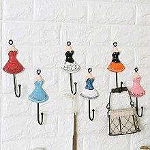 Hölzerner Prinzessin-Rockhaken oben Mantelhaken einzelne Haken Wandbezuege 6pcs 15 * 5cm * 6 Abbildungsfarbe