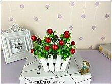 Hölzerner Zaun Rose Seide Blume Pastoral (sehr viel Farbe) Imitation Fake Blume Topf Wohnzimmer Büro Isolierung Dekorative Blume Künstliche Blume Pflanze , D