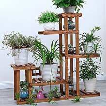 Hölzernes Pflanzen-Blumen-Standplatz / mehrgeschossiges faltendes Topfpflanze-Ausstellungsstand-Balkon-Wohnzimmer-im Freienblumen-Standplatz (102 * 92CM /) ( Farbe : Braun )