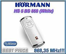 Hörmann HS5–868-BS Weiß Fernbedienung, 868,3MHz BiSecur 5-Kanal Transmitter. Top Qualität Original Hormann Fernbedienung für die besten Preis