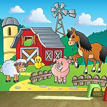 Hof Tier Wandbild Pferd Foto-Tapete Kinderzimmer Kinderzimmer Wohnkultur Erhältlich in 8 Größen Extraklein Digital