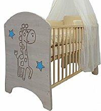 hogartrend Neuheit Babybett mit Gravur Giraffe blau
