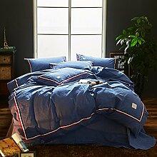 Hohe klasse bettwäsche 100 % baumwolle 4 stück bettwäsche set einfache nordic weiche komfortable hautfreundlich-A Queen2