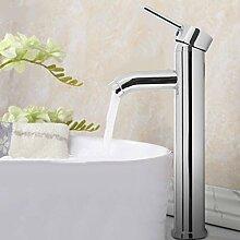 Hohe Wasserhahn Einhebel Armatur Waschtischarmatur Aufsatzwaschbeckenarmatur Waschtisch Mischbatterie für Bad Chrom