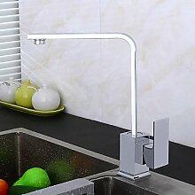 hohen Bogen Deck einzigen Handgriff ein Loch für Chrom, Küche befestigter Hahn Wasserfall mit Keramik-Ventil