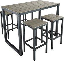 Hoher Gartentisch mit 4 Hockern aus Aluminium,