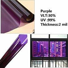 HOHO 2Mil selbstklebend violett Film Fenster Sichtschutz Glas Aufkleber Home Decor Abnehmbare, 152cmx3000cm
