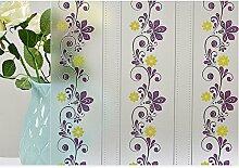 HOHO lila Blume Muster Glas Film Sichtschutz Fensterfolie Sichtschutzfolie Fleck Glas Fenster Deko, selbstklebend, für Badezimmer Wohnzimmer Schlafzimmer, 17.7in by78.7in