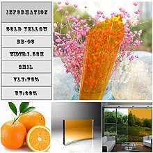 HOHO Tint Colorful Solar Fenster Folie Sichtschutz privaten Hitze Kontrolle für Home Office Dekoration, goldgelb, 70cmx200cm