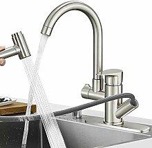 HoImpro Küchenarmatur, ausziehbarer Wasserhahn,