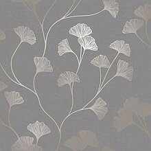 Holden Decor Ginkgo 12702 Tapete, Grau/Rotgold