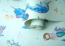 Holden Decor Narwhals and Mermaids Light Teal