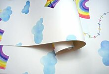 Holden Decor Rainbows and Flying Kites White/Multi