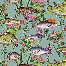 Holden Lagune Fisch Tapete - Teal 12171