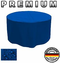 Holi Europe PREMIUM Gartentisch RUND Gartenmöbel Hülle Abdeckung Schutzhülle Haube Abdeckplane Garnitur 480g / lfm (Ø 210cm x Höhe 75cm, Blau)