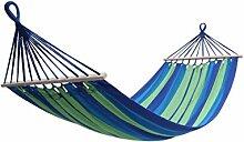 Holifine 200x100cm Hängematte Hängeliege Hängesitz mit Kissen und Querholz, bis 120kg Belastbar - Blau Streifen