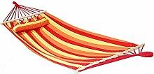 Holifine 200x100cm Hängematte Hängeliege Hängesitz mit Kissen und Querholz, bis 120kg Belastbar - Rot Streifen