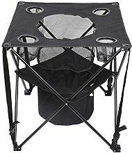 Holifine 60cm-hohen Faltbare Campingtisch Picknicktisch Klapptisch mit Kühlbox Kühler und Bier Becherhalter, Ideal für BBQ, Grill und Picknick