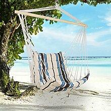 Holifine Aufhängung Hängesessel Hängestuhl aus Baumwolle und Polyester, mit Spreizstab, belastbar bis 100kg - Beige Streifen
