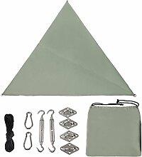Holifine Dreieck Sonnensegel mit UV-Schutz 3 x 3 x 3 m Sonnenschutz Polyester Wasserabweisend Segel inkl Befestigungsset für Sonne Strand Garten Terrasse Camping Caravaning - Graugrün