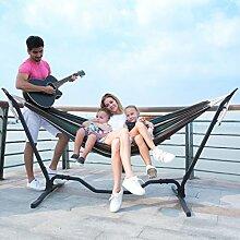 Holifine Gitarre Design 200x150cm TÜV Mehrpersonen Hängematte Hammock mit Hängemattengestell Belastbarkeit bis 150kg - Grün Streifen