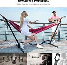 Holifine Gitarre Hängemattengestell Komplettset 200 x 150 cm Mehrpersonen Hängematte inkl. Stabilem Stahlgestell in Schwarz Belastbarkeit bis 150 kg - Ro