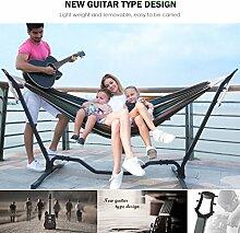 Holifine Gitarre Hängemattengestell Komplettset 200 x 150 cm Mehrpersonen Hängematte inkl. Stabilem Stahlgestell in Schwarz Belastbarkeit bis 150 kg - Grün
