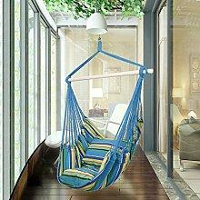 Holifine Hängesessel Aufhängung Hängestuhl mit 2 Kissen und Spreizstab aus Holz, bis 120 kg Belastbar - Blau Streifen