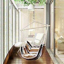 Holifine Hängesessel Aufhängung Hängestuhl mit 2 Kissen und Spreizstab aus Holz, bis 120 kg Belastbar - Braun Streifen