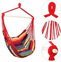 Holifine Hängesessel Aufhängung Hängestuhl mit 2 Kissen und Spreizstab aus Holz, bis 120 kg Belastbar - Rote Streifen