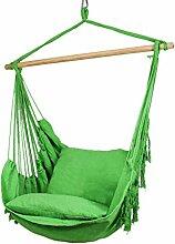Holifine Hängesessel Hängestuhl mit Fransen inkl. 2 x Kissen und Spreizstab aus Holz, bis 100kg Belastbar - Grün