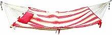 Holifine® Mehrpersonen Hängematte 200 x 130 cm Gartenhängematte für Outdoors Camping Garten Strand Reise Leinwand Aufhängen mit 2 Kissen, Belastbarkeit bis 200 kg - Rot und Gelb Streifen