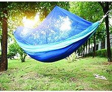 Holifine Ultraleichte Hängematte mit Moskitonetzen Reisehängematte für Outdoor / Camping Reisen mit Moskito-Netz zum Aufhängen, bis 60kg Belastbar - Hellblau mit Dunkelblau