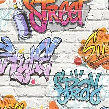 Holländische Graffiti 10m x 53cm Matte Tapete