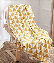 Hollwald Luxus Stilvolle Kuscheldecke Wohndecke Decke Tagesdecke Wolldecke 130*170cm Super Weiche Baumwolle Bett Stuhl Bezug Überwurf (Gelb)