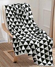 Hollwald Luxus Stilvolle Kuscheldecke Wohndecke Decke Tagesdecke Wolldecke 130*170cm Super Weiche Baumwolle Bett Stuhl Bezug Überwurf (Schwarz)