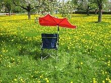 Holly'mac ®- Campingstuhl Farbe dunkelblau mit grünem Dekorstreifen + Fächerschirm - Halterung Nr. 59 SC mit Gummischutzkappen zur kratzfreien Befestigung - INNOVATIONEN MADE in GERMANY - Holly® Produkte STABIELO - holly-sunshade ®