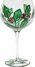Holly Christmas Glass Gin Tonic Ballon Gin Copa