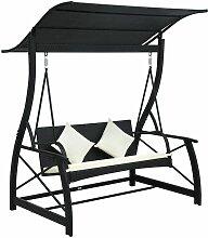 Hollywoodschaukel 3-Sitzer mit Dach Poly Rattan