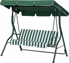 Hollywoodschaukel grün/weiß Stahl Sonnendach