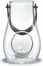 Holmegaard - DWL Laterne - Windlicht mit Lederhenkel - klar - Höhe 16 cm