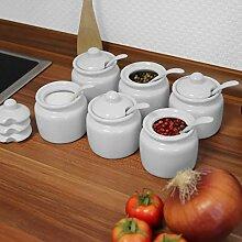 Holst Porzellan 6er Set Gewürzdose 100 ml mit