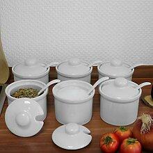 Holst Porzellan 6er Set Gewürzdose 170 ml mit