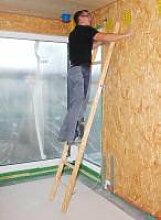 Holz-Anlegeleiter 14 Sprossen Arbeitshöhe bis ca.