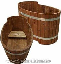 Holz Badewanne mit Sitzbank, Set2 - für Holzbadefass Badefässer Badefass für draussen