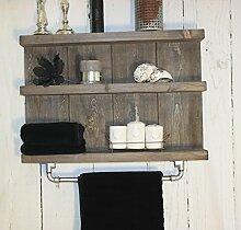 Holz Badregal mit Stange für Handtücher Shabby